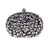 LLUFFY-Clutch Handtasche Europäische und amerikanische Damentasche handbesetzte Handtasche, 10 * 17 * 12cm, schwarz