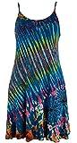 Guru-Shop Batik Minikleid, Hippiekleid, Damen, Petrol, Viskose, Size:38, Kurze Kleider Alternative Bekleidung