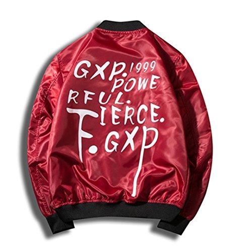 Jungen Jacke Leder Aviator (Männliche Jacke Stand Kragen Bomber Jacke Herren Mantel Buchstaben gedruckt neue Frühling Herbst neue Jacken Rot XXL)