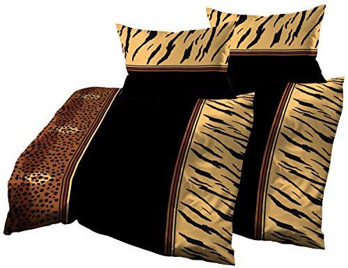Gerald Wittmann 4 TLG. Baumwolle Satin Bettwäsche, Leoparden Schwarz Braun Gelb, 2X 140x200 cm + 2X 70x90 cm - Satin 4