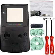 iMinker Volle Gehäuse-Shell-Paket-Fall-Abdeckung Ersatzteile mit geöffneten Werkzeugen für Nintendo Gameboy Color, GBC (Transparent Schwarz)