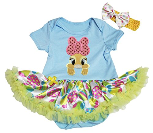 Easter Baby Dress Yellow Bunny Blue Bodysuit Eggs Green Tutu Romper Nb-18m (0-3 (Bunny Rosa Kostüme Pailletten)