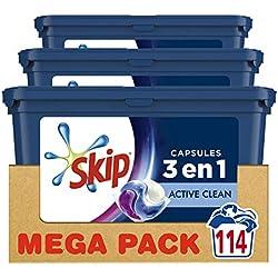 Skip Ultimate Lessive 3en1 Capsules Active Clean 114 Lavages (Lot de 3x38 Capsules)