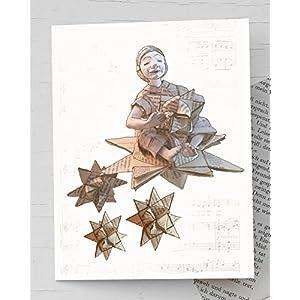Weihnachtskarte, Engel, für Leseratten und für Bücherwürmer: Recyclingkarte mit handgemachtem Umschlag aus Buchseiten, weihnachtliche Karte mit kleinem Engel und Fröbelstern, Karte Fröbelstern, Weihnachtskarte Sternschnuppe