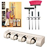 HOKIPO Plastic 4 Slot Wall Organizer for Mops and Long Handled Items (White)