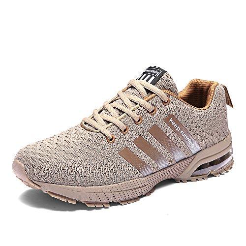 CAGAYA Damen Herren Laufschuhe Outdoor Athletic Training Licht Laufschuhe für Männer Tarnung Sneaker (42, Hellbraun) -