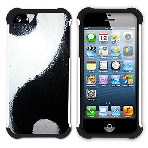 Graphic4You Yin und Yang Chinesisch Symbole Hart + Weiche Kratzfeste Hülle Case Schale Tasche Schutzhülle für Apple iPhone SE / 5 / 5S Design #1