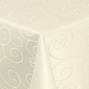 Damast Tischdecke Maßanfertigung ORNAMENT (Creme Champagner, 400 x 150 cm) (Eckig)