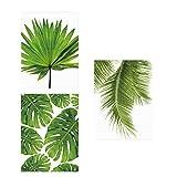 Sharplace 3 Stück Wandbilder Kunstdruck Leinwand Bilder Set -Grüne Blätter