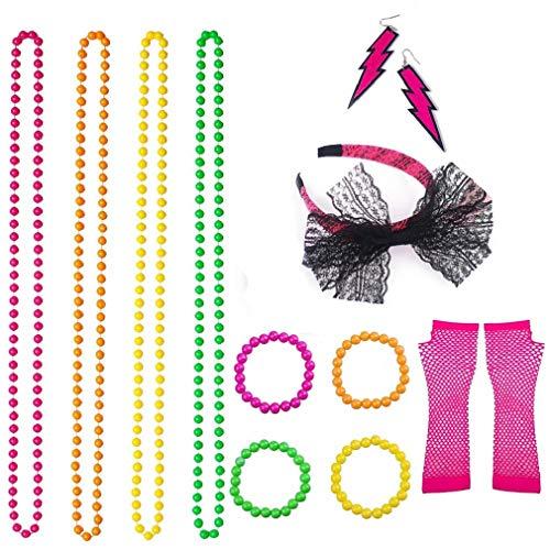 VADOO 80er Jahre Partykleid Zubehör, Spitze Bogen Stirnband Halsketten Armbänder Neon lange Netzhandschuhe ()
