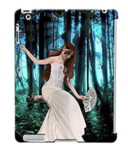Fuson Forest Girl Back Case Cover for APPLE IPAD 2 - D4024