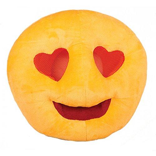 Lively Moments Maske Emoji Verliebt mit Herzaugen / Smiley Vollmaske Plüsch / Stoffmaske / Kostüm Zubehör für Erwachsene