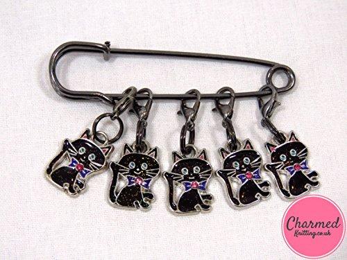 Charmed Knitting Maschenmarkierermit Schwarzen Katzen, Emaille, Perfektes Geschenk Oder Strumpffüller für Häkel- und Strickliebhaber, 5er-Set (Christmas Tree Crochet)