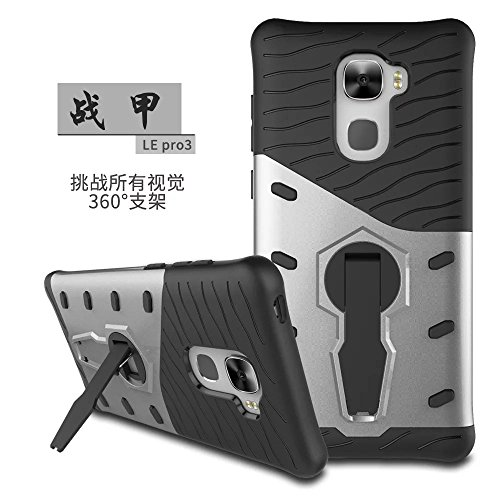 YHUISEN Hybrid Tough Rugged Dual Layer Rüstung Schild Schützende Shockproof mit 360 Grad Einstellung Kickstand Case Cover für LeEco Le Pro 3 ( Color : Blue ) Silver