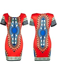Koly Mujer Tradicional Imprimir africana dashiki bodycon Sexy vestido de manga corta