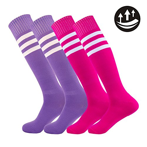 Fancy Fan Sport Socken Herren Damen Fußball Unisex Knie High Triple Soccer Uni Athletic Team 2–12 Paar, 4 Pairs-mixed purple and pink