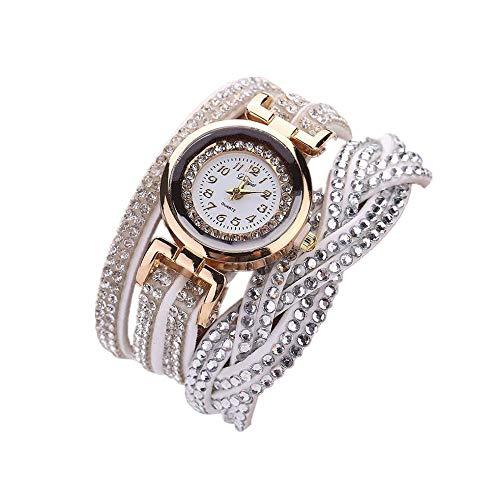 Skang Damen Uhren, Vintage Elegant Digitaluhr, Mit Mehrere Kreise Diamant Strass Armband, Für Frau Lady Teenager Mädchen(one Size,Weiß)