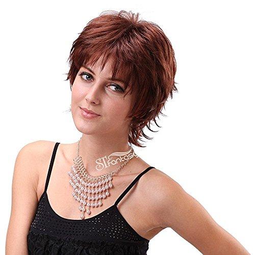 stfantasy Frauen Damen Kurz Perücke Layered leichten gewellt Locken Cosplay Party Full Hair + Gap (33cm (Kostüme Weiblich Japanische)