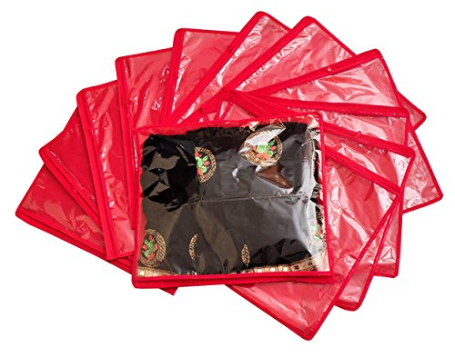 Yellow Weaves™Non Woven Single Saree Cover 12 Pcs Combo, Color - Red