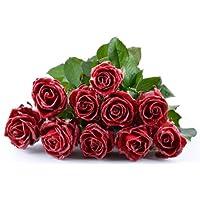 Blumenversand - Blumenstrauß versenden - 10 Stück Bordeaux Wachsrosen - mit großen Blüten - mit Gratis - Grußkarte zum Wunschtermin versenden