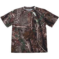 SODIAL(R) Nuevo Camiseta camuflaje de caza al aire libre Camiseta del ejercito transpirable de hombre Camiseta de campamento camo de deporte seco Camuflaje de arbol XL