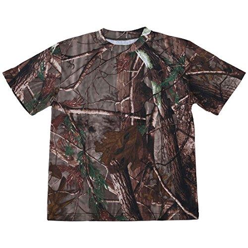 SODIAL(R) Neues Outdoor Jagd Tarnung T-Shirt Maenner Atmungsaktiv Armee taktisches Kampf T-Shirt Militaerisches trockenes Sport Camo Lager T-shirt Baum Tarnung M (Lager T-shirt)