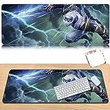 GZCP Tappetino per Mouse, League of Legends Sovradimensionato Pad Tastiera Impermeabile, Adatto per Internet Café, i Giochi,Zed,70x30x0.3cm