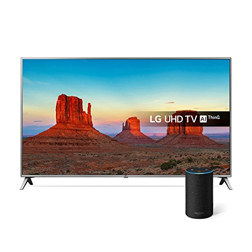 LG 75UK6500PLA 75-Inch UHD 4K HDR Smart LED TV with Freeview Play - Steel Silver/Black (2018 Model) with All-new Amazon Echo (2nd generation), Charcoal Fabric Bundle