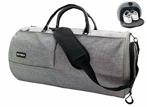 c5dc98c08f5b Keynew Canvas Travel Duffel Bag Water Resistant Sports Gym Luggage with  Shoes Compartment - New Gray