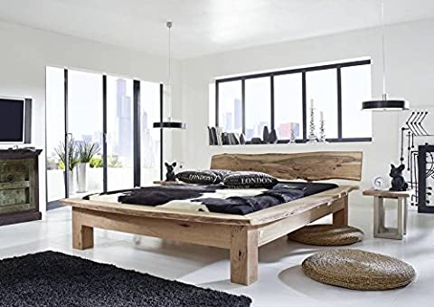 Meubles en bois d'acacia massif 160 x 200 stone massivmöbel natural peint style maison de campagne bois#123 freeform massif