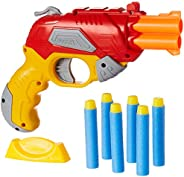 Amazon Brand - Jam & Honey Fire Blaster Toy Gun, Red, with Soft Foam Bullets and Target b