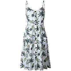 LIAN Vestido de playa Vestido de piña con estampado de halter Vestido sexy con bolsillo para mujer (Blanco S-XXXL Embalaje de 1) (Color : Blanco, Tamaño : XXL)