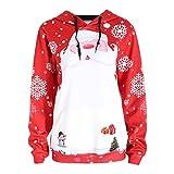 Damen Kapuzenpullover Btruely Frau Herbst Fröhliche Weihnachten Pullover Mädchen Hooded Sweatshirt Patchwork Mode Langarm Tops (S, Rot)
