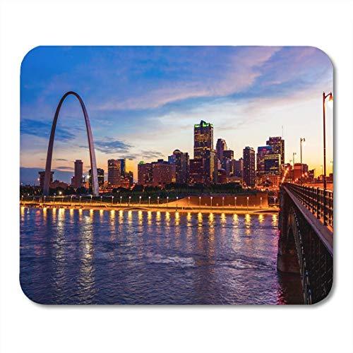 Mouse Mat,Gaming Mauspad,Maus Pad,Pad Maus Unterlage,Mausmatte,Skyline Von St. Louis Missouri Und Gateway Arch Als Büromaterial,30 X 25 Cm,Arbeitsmauspad,Gummi-Mousepad -