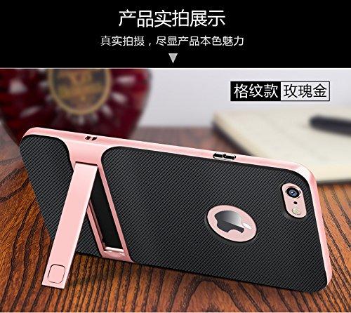 BCIT iPhone 6 Hülle - Hybrid kratzfeste stoßdämpfende TPU +PC Bumper Frame Dual Layer Tasche Schutzhülle mit Ständer für iPhone 6 - Gold Rose Gold