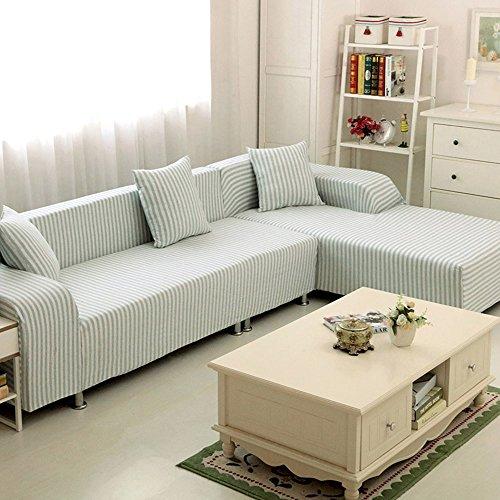 HYSENM Sofabezug Bambus-Baumwolle Elastisch Farbecht Hautfreundlich Rutschfest Anti-Pilling Unempfindlich Sofaüberwurf Für 1-Sitzer 2-Sitzer 3-Sitzer 4-Sizter Sofahusse, Blau+Weiß, 190-230cm