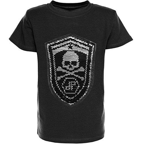 BEZIT Kinder Jungen T-Shirt Wendepailletten Sommer Shirt Sleeve Sweat 21352, Farbe:Schwarz;Größe:164 (Für Shirt Jungen Kleid)