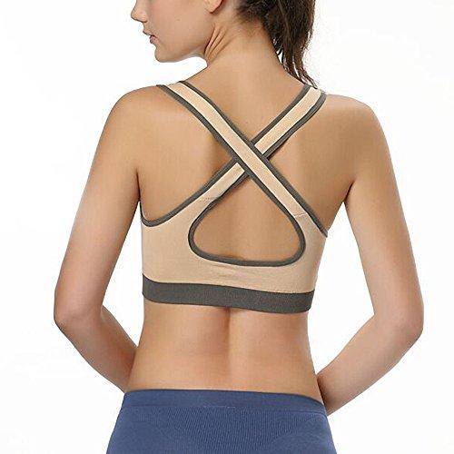ISASSY - Soutien Gorge de Sport - Brassière - Uni - Femme - Sans Armatures - Bustier - Sous-Vêtements Beige