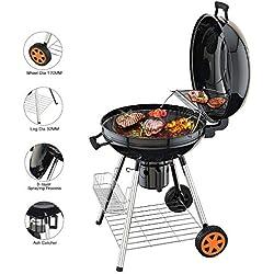 TACKLIFE Barbecue au Charbon de Bois, 57cm Gril Portable à 2 Etagéres, Réversible Couvercle, 2Roues, Camping pour Grande Famille, CG01A