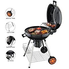Idea Regalo - TACKLIFE Barbecue Compatto Griglia a Carbone Rotondo da 57cm Carbonella Carrello Portabile con 2 Ruote, Sostegni di Gambe 32mm Resistenti per Barbecue Campeggio per 5-12 Persone CG01A