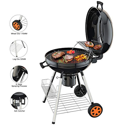 TACKLIFE Barbecue au Charbon de Bois, 57cm Gril Portable à...