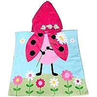 Algodón Niños Niñas Encantador Ponchos encapuchados baño toalla de baño (Mariquita)