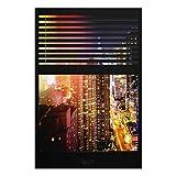 Bilderwelten Glasbild - Fensterblick Jalousie - Manhattan bei Nacht - Hoch 3:2, Größe HxB: 90cm x 60cm