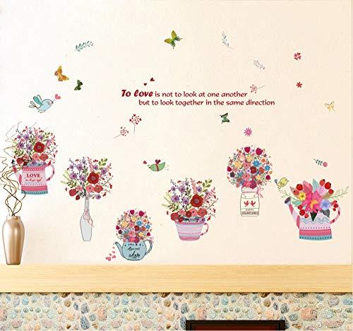 Hanjiming Handgemalte Blume Körbe Schmetterling Aufkleber Wandaufkleber Pvc Diy Wohnzimmer Schlafzimmer Home Kunst Tapete Zimmer Haus Poster