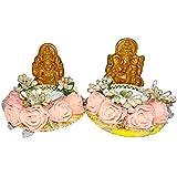Instabuyz Handmade Decorative Candles Ganesh Ji And Laxmi Ji Combo Tea Light Holder Diwali Festival Diya (Set Of 1)