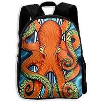 SCHOoabg89 Octopus - Mochila Escolar para niños y niñas, diseño de Tabla de Surf