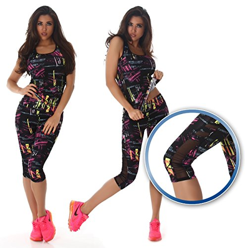 Damen Fitness Zweiteiler Capri Sport-Leggings und Sport-Top als Fitness-Anzug – verschiedene Muster - 3
