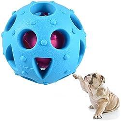 Petacc Juegos para Perros Interactivos Bola de Entrenamiento Perros Juguete Mordedor para Perros Dispensador de Golosinas, Azul