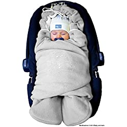 ByBoom® - Manta arrullo de invierno para bebé, es ideal para sillas de coche (p.ej. de las marcas Maxi-Cosi y Römer), para cochecitos de bebé, sillas de paseo o cunas; LA MANTA ARRULLO ORIGINAL CON EL OSO, Color:Gris/Blanco