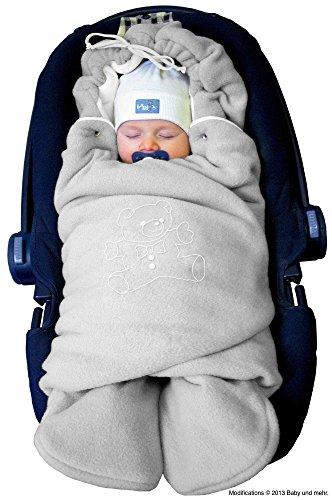 """ByBoom® - Baby Winter-Einschlagdecke \""""Das Original mit dem Bären\"""", Universal für Babyschale, Autositz, z.B. für Maxi-Cosi, Römer, für Kinderwagen, Buggy oder Babybett, Farbe:Grau/Weiß"""